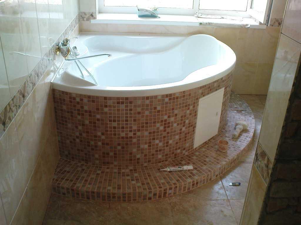 Угловой способ установки акриловой ванны