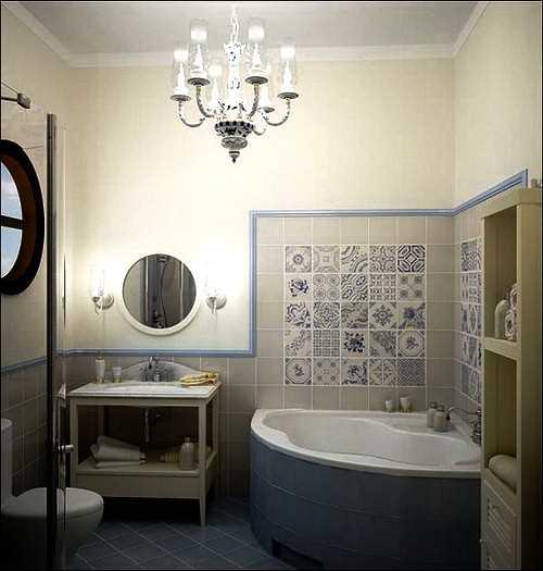 Мозаичное декорирование возле угловой ванны