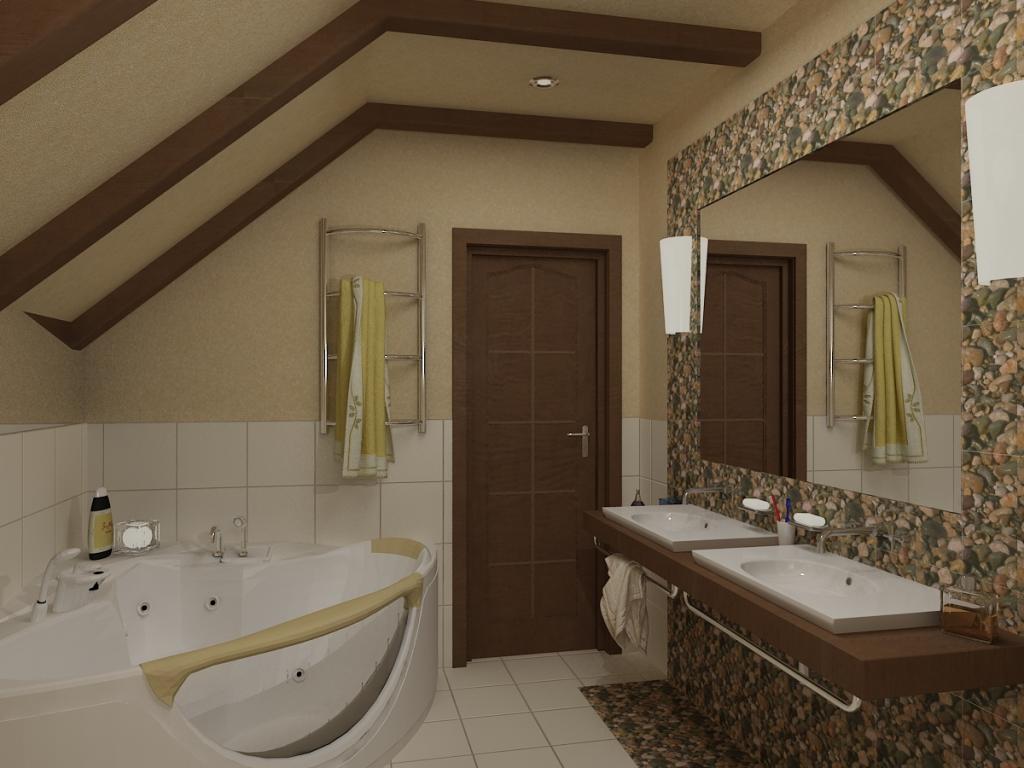 Декоративные потолочные балки шоколадного цвета позволяют «обыграть» даже мансардное помещение