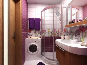 Наличие душевой кабины позволяет высвободить лишь незначительную часть пространства ванной комнаты