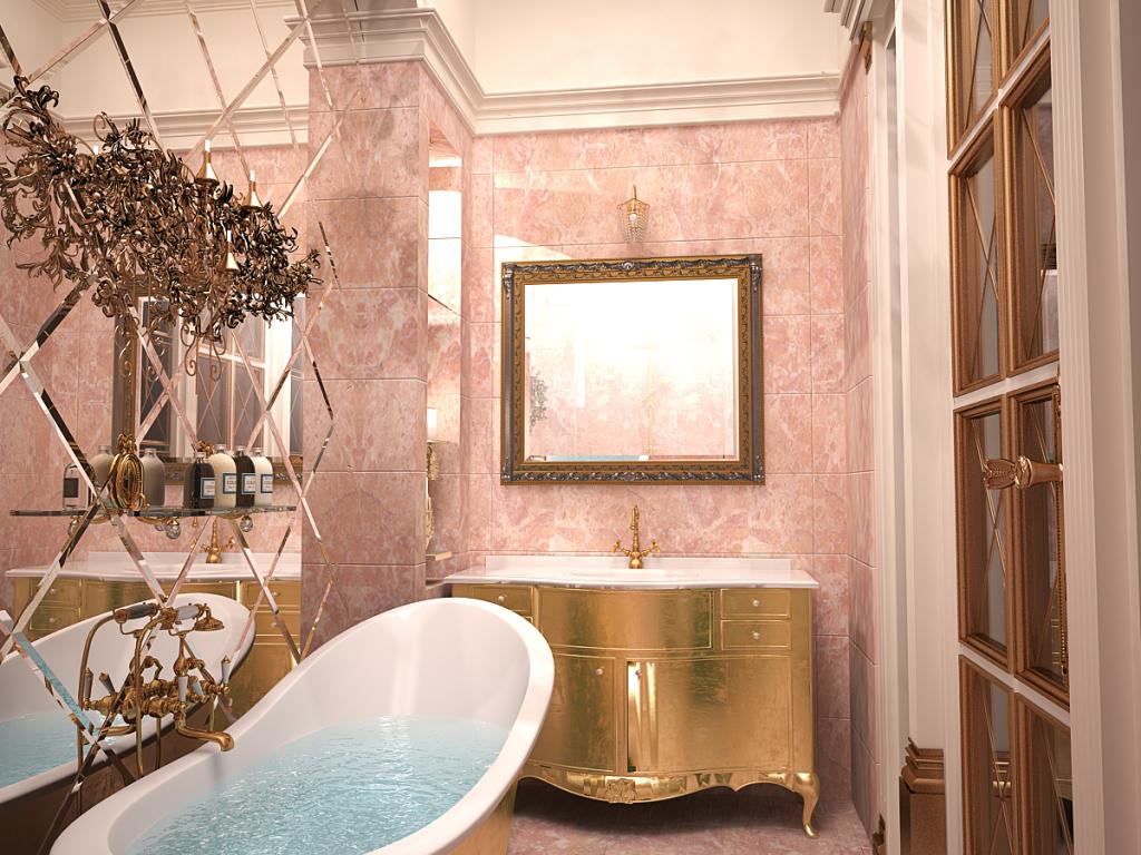 Один из вариантов оформления в прованском стиле ванной комнаты небольшого размера