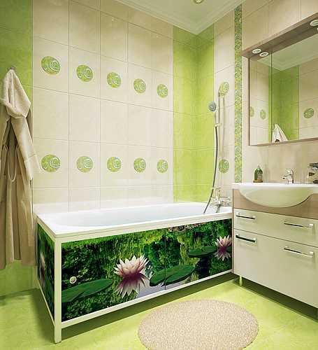Яркий экран под ванной, подобранный в тон общей отделке позволит скрыть все лишнее