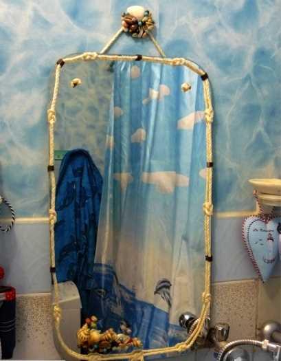 Немного смекалки и фантазии – и зеркало для интерьера в морском стиле готово!