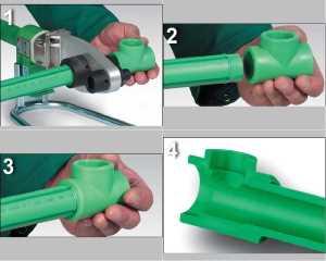 Последовательность действий мастера при соединении полипропиленовых труб методом сварки