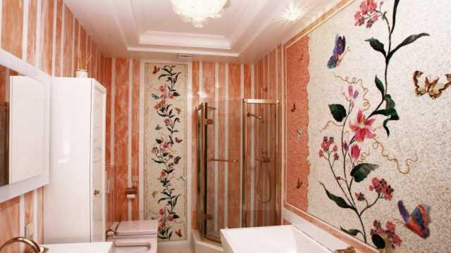 Роскошные мозаичные панно – поистине эксклюзивная деталь в отделке ванной