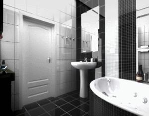 Контрастный фон для мебели и сантехники позволит помещению выглядеть по-настоящему безупречно