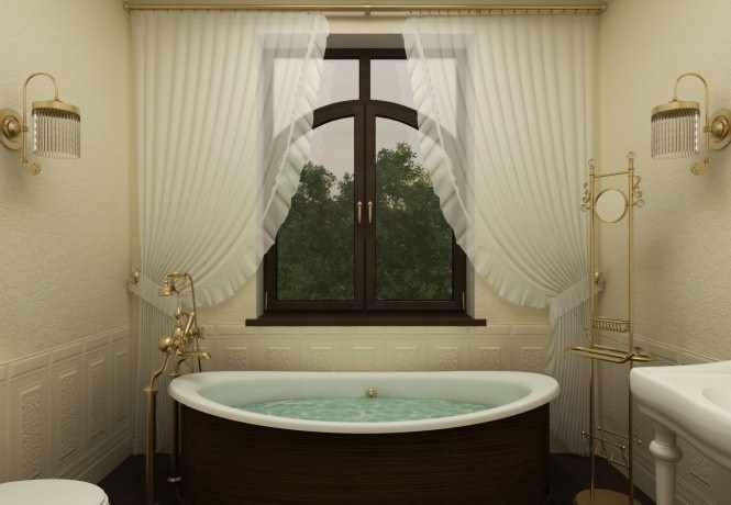 Изысканные тона, изящная мебель и элегантная сантехника, позолота и шикарный ламбрекен – ванная с окном в стиле ретро тоже может быть современной!